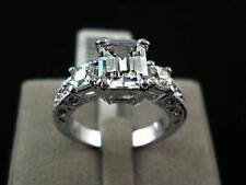 Emerald Cut Classic 18K white gold filled 4 ct Engagement Dress Ring  size 8