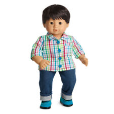 American Girl BT BITTY TWIN DOLL 4B BOY NO LID Rainbow Plaid Brown Eyes Hair NEW