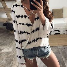 Femmes Casual col v cou manches longues dentelle chemise t-shirt haut chemisier