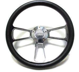 1966 Chevelle, El Camino Billet & Black Steering Wheel Chevy Horn Kit + Adapter