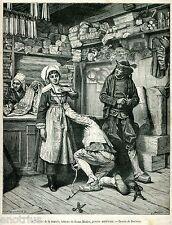 IL SARTO PRENDE LE MISURE. Tailor. Tailleur.Schneider.Sastre. Stampa Antica.1881