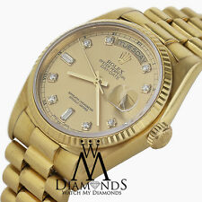 Men's Rolex Day-Date Champagne Dial Fluted Bezel 18kt Yellow Gold Diamond Watch