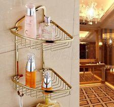 Gold Color Brass Corner Shower Caddy 2 Tier Bath Storage Shelf Rack Basket