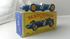 "Matchbox #52B B.R.M. British Racing Motors Racing Car Blue ""5"" BPT BOXED (D2)"