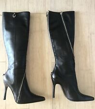 Excellent Dolce & Gabbana Knee High Heel Pointy Boots Black  Leather IT 36.5