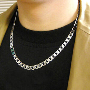 Men 925 sterling Thick Silver 4MM solid Men Curb Chain Necklace Hip Hop Rock