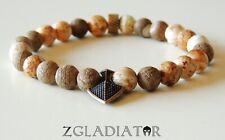 Beaded Gladiator Spartan Shield Stretch Fashion Bracelet for Men Women