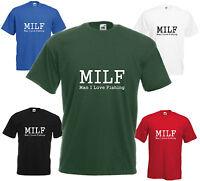 MILF Man I Love Fishing T-Shirt Funny Tee Birthday Gift Top Fish Present Coarse
