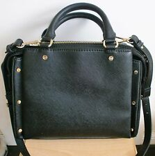 "ZARA BLACK GOLD STUDDED CITY HANDBAG SHOULDER HAND BAG SIZE MEDIUM 11"" X 8"""
