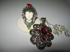 HUGE RED SAPPHIRE PENDANT AND MULTI GEMSTONE RING SIZE 8