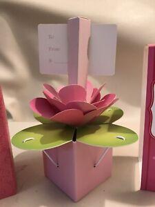 Hallmark Suddenly Flowers Paper Bloom Gift Card Holder Pop Up Pink , Set of 2