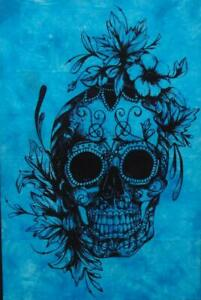 Tapestry Small Skull Flower Design Cotton Poster Wall Hanging Blue Color Indien