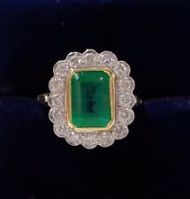 18ct Yellow Gold Emerald and Diamond Cluster Ring - Size O