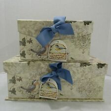 Set of 2 Susan Winget Decorative Storage Boxes Northern Lapwing Birds Pair