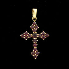Small Classic Antique Style 14k Solid Budded Cross Accents Genuine Garnets