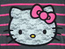 NWT LACE Hello Kitty Gray/Pink Top SPARKLY BOW XL/14/16