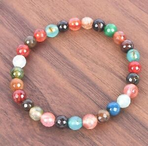 Energy Healing Tourmaline Natural Faceted Colorful Gemstone Chakra Bracelet