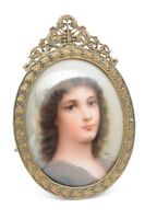 Antique German Porcelain Painting Ruth Signed Wagner Brass Frame 1800s Miniature