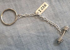 CROSSFIT Weight Lifting Strength Training BARBELL 'I CAN' Fitness KEY CHAIN RING