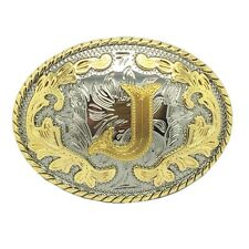 "Rodeo Gold Initial Letter ""J"" Belt Buckle Arabesque Boucle de ceinture Western"