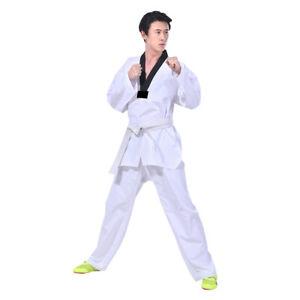 Unisex Taekwondo Uniform Breathable Karate Suit Martial Arts Set w/ White Belt