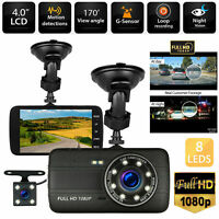 "4"" 1080P Dual Lens Car Dashboard DVR Video Recorder Dash Cam + Rearview camera"