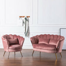 Nordic Pink Velvet Lotus Armchair Shell Back 2 Seater Sofa Chairs Loveseat Suite