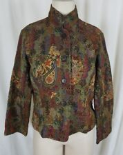 Coldwater Creek Boucle Tapestry Paisley Print Funnel Neck Jacket Womens PS