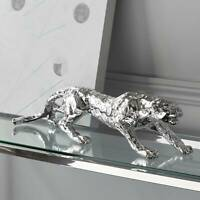 """Prowling 23 1/2"""" Wide Silver Mirror Leopard Table Sculpture"""