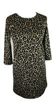 Leopard Animal Bodycon Print Dress Size 10-12  Long Sleeve Mini Stretch