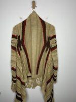Ralph Lauren Small Medium Cardigan Sweater Southwestern Fringe RRL Aztec Serape