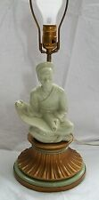 Asian Porcelain and Metal Table Lamp with Asian Man with Scroll Works Vintage