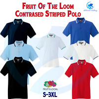 FRUIT OF THE LOOM Men's Tipped Polo Contrast Neck Tape Cuff Pure Cotton Polo Top