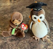 Ty Beanie Babies Wise Owl Class of 1998 and Seaweed Otter 1996, With Tags