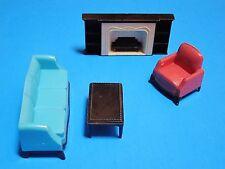 Plasco renwal Ideal Vtg Dollhouse Furniture Plastic 1:16 lot living room 4 pc