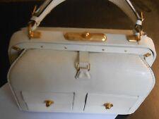 """VINTAGE LEDERER--FRANCE-- WHITE LIZARD PATCH POCKETS SUIT BAG---9"""" X 7 1/4"""" X 4"""""""