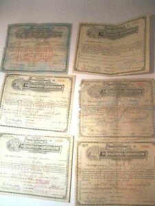 6Hunting And Fishing License State Of Indiana Dekalb County 1924-1930 Good Condi