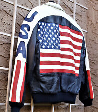 Usa Flag & Stripes Leather Jacket (Phase 2) Unisex Bomber Style Size M (Unworn)