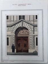 Beau Dessin Aquarelle Ancienne Porte d'entrée du Musée Carnavalet c.1920