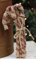 Primitive CANDY CANE Ornament SET Fabric Farmhouse Country Christmas Bundle of4