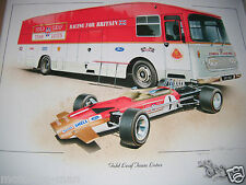 Equipo transportador Lotus 49 Jochen Rindt Graham Hill Colin Chapman impresión firmada F1