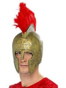 Gladiator Helmet Perseus Gold + Red Plume Fancy Dress Fun Theme Party Accessory