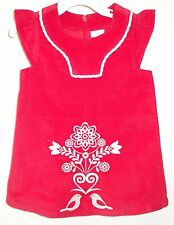 New Hanna Andersson Red Corduroy Embroidered Jumper / Dress Sz 60 2-6 Month