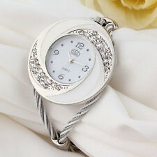 Women Steel Bangle Wrist Crystal Round Dial Analog Digital Bracelet Watch CV