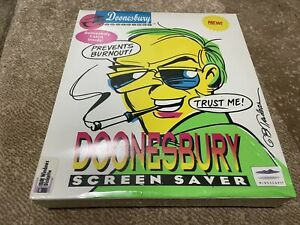 SEALED! Doonesbury Screen Saver WITH XL T-SHIRT! (May Not Work! See description)