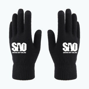 New Anime Sword Art Online Black Touch Screen Gloves Full Finger Gloves Winter