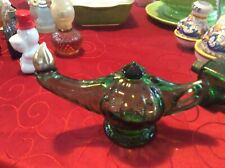 &Empty Vintage Avon Green Perfume Decanter Aladdin's Lamp Genie Bottle