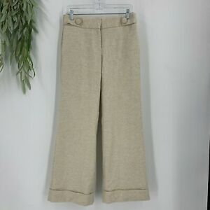 J.Crew Dress Pants Womens Size 2 Cream Favorite Fit Wide Leg Cuffed Wool Blend