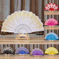 Chinese Fan Silk Lace Fabric Folding Held Dance Hand Fan Party Wedding Prom FQ