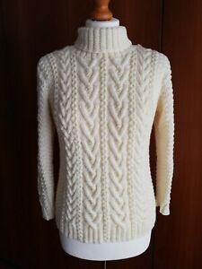 Maglione fatto a mano ferri in pura lana merino colore crema taglia S/M